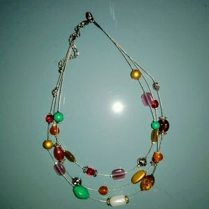 Lia Sophia multilayer colorful bead necklace